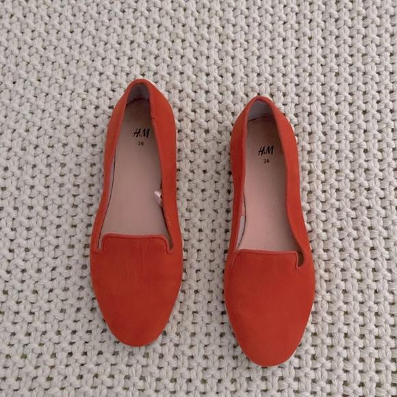 H&M Orange Suede Flats Size 5.5/6